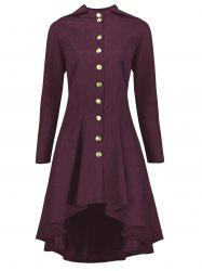 Hooded Plus Size High Low Lace Up Coat - WINE RED XL