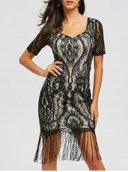 Maxi Fringe Formal Lace Vintage Dress - BLACK L
