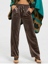 High Waist Velvet Wide Leg Pants - COFFEE L