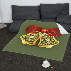 Coral Fleece Paper Cutting Christmas Bells Printed Blanket -