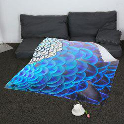 Coral Fleece Feathers Printed Blanket - COLORFUL W47INCH*L59INCH