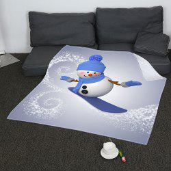 Christmas Skateboard Snowman Pattern Coral Fleece Sofa Blanket - GRAY AND BLUE W31 INCH*L59 INCH
