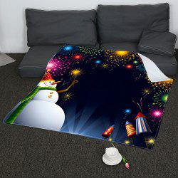 Christmas Snowman Fireworks Pattern Coral Fleece Sofa Blanket -