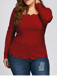 Plus Size Square Neck Scalloped Long Sleeve Top