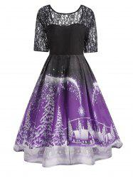 Plus Size  Lace Panel Vintage Christmas Party Dress - Purple - 2xl