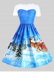 Father Christmas Sleigh Party Gown Dress - Blue - 2xl