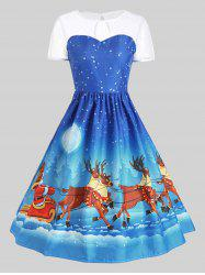Mesh Panel Sleigh Santa Claus Christmas Party Dress - Blue - Xl