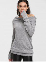 Off The Shoulder Longline Knitwear - GRAY M