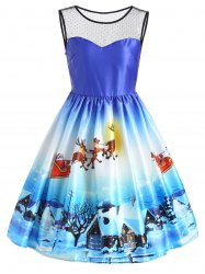 Christmas Snow View Print Sleeveless Vintage Dress - Blue - L