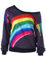 Sweat-shirt Imprimé D'arc-en-ciel à Encolure Cloutée Épaules Tombantes -