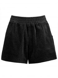 Plus Size Corduroy Shorts with Pocket -
