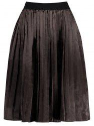 Plus Size Midi Pleated Elastic Waist Skirt -