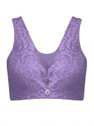 Plus Size Underwire Padded Rose Lace Bra -