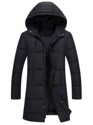 Zip Up Hooded Quilted Long Coat -