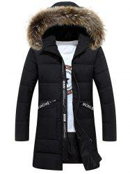 Faux Fur Hood Zip Up Quilted Coat -