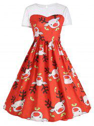 Mesh Insert Cute Reindeer Christmas Party Dress -