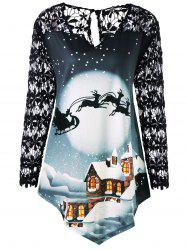 Christmas Plus Size Lace Panel Tunic Top -