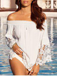 Off The Shoulder Lace Panel Shirt -
