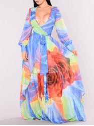 Plunging Neck Floral Pattern Maxi Dress -