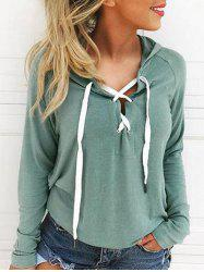 Long Sleeve Front Lace Up Hoodie -