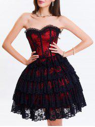 37 off club eyelet tiered lace corset dress  rosegal
