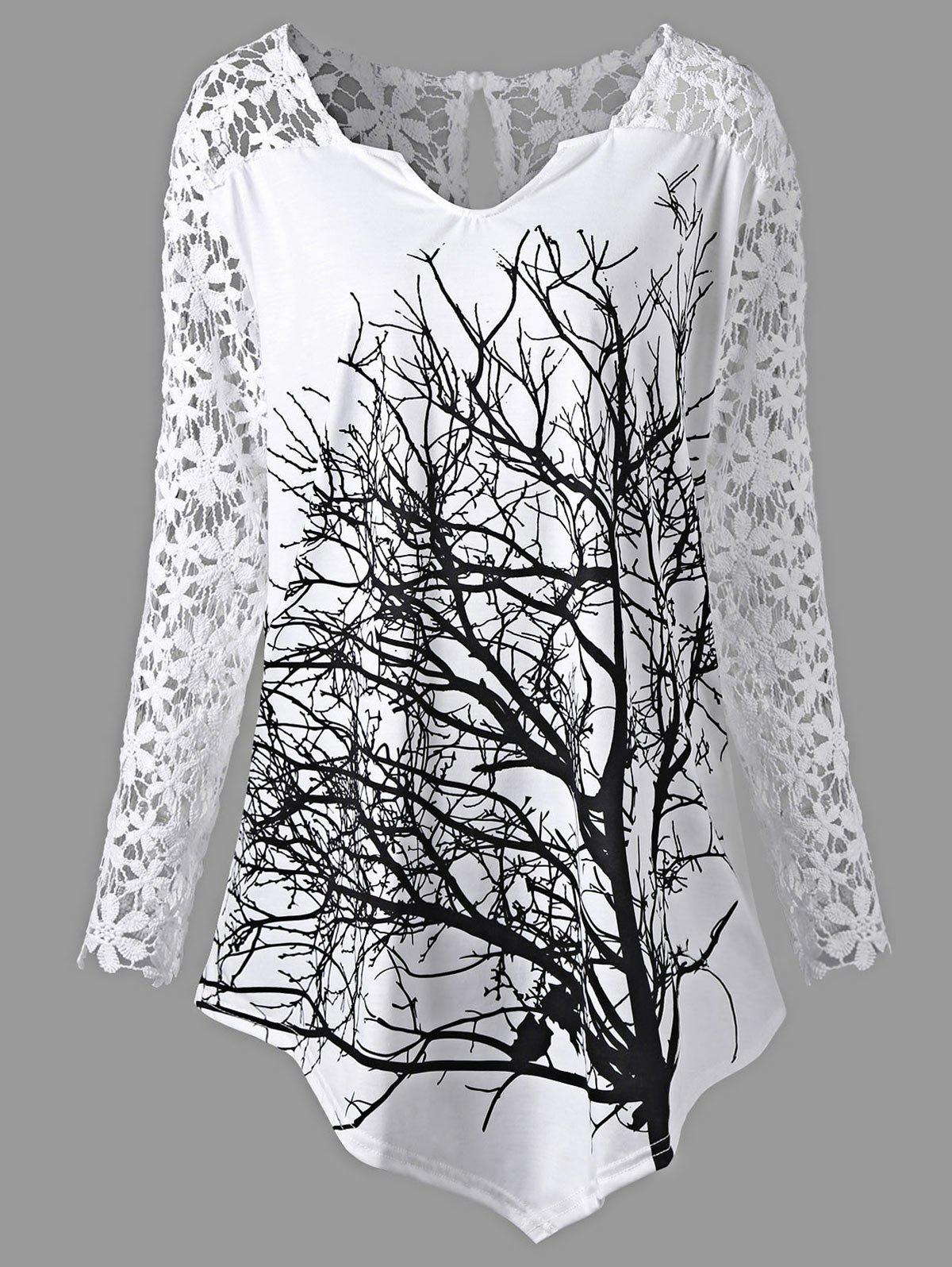 Plus Size Lace Panel Tree Tunic TopWOMEN<br><br>Size: 5XL; Color: WHITE; Material: Polyester,Spandex; Shirt Length: Long; Sleeve Length: Full; Collar: V-Neck; Style: Casual; Season: Fall,Spring; Embellishment: Lace; Pattern Type: Floral; Weight: 0.4100kg; Package Contents: 1 x Top;
