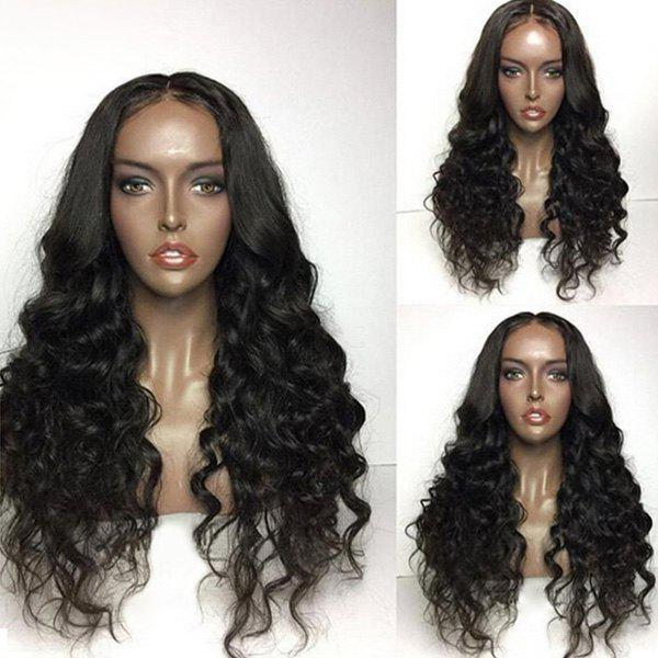 Long Middle Part Bouffant Loose Wave Synthetic WigHAIR<br><br>Color: BLACK; Type: Full Wigs; Cap Construction: Capless; Style: Wavy; Material: Synthetic Hair; Bang Type: Middle; Length: Long; Length Size(CM): 70; Weight: 0.2650kg; Package Contents: 1 x Wig;
