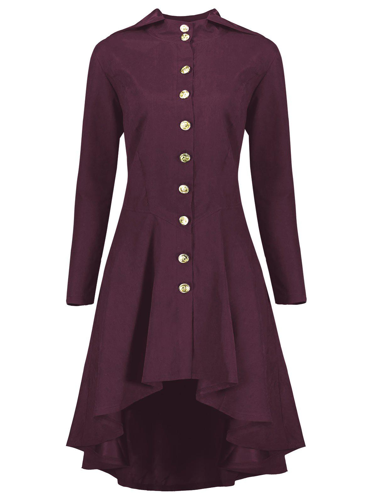 Hooded Plus Size High Low Lace Up CoatWOMEN<br><br>Size: 5XL; Color: WINE RED; Clothes Type: Others; Material: Polyester,Spandex; Type: Slim; Shirt Length: Long; Sleeve Length: Full; Collar: Hooded; Pattern Type: Solid; Style: Fashion; Season: Fall,Winter; Weight: 0.5200kg; Package Contents: 1 x Coat;