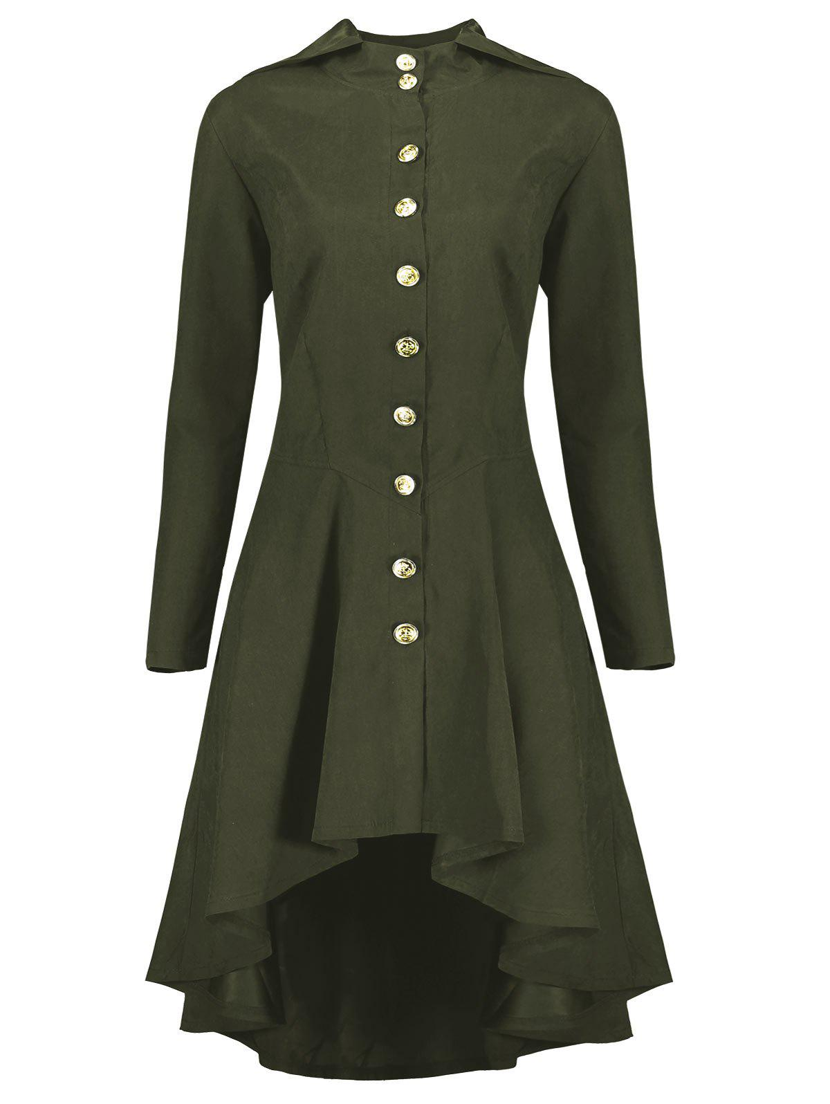 Hooded Plus Size High Low Lace Up CoatWOMEN<br><br>Size: 3XL; Color: ARMY GREEN; Clothes Type: Others; Material: Polyester,Spandex; Type: Slim; Shirt Length: Long; Sleeve Length: Full; Collar: Hooded; Pattern Type: Solid; Style: Fashion; Season: Fall,Winter; Weight: 0.5200kg; Package Contents: 1 x Coat;