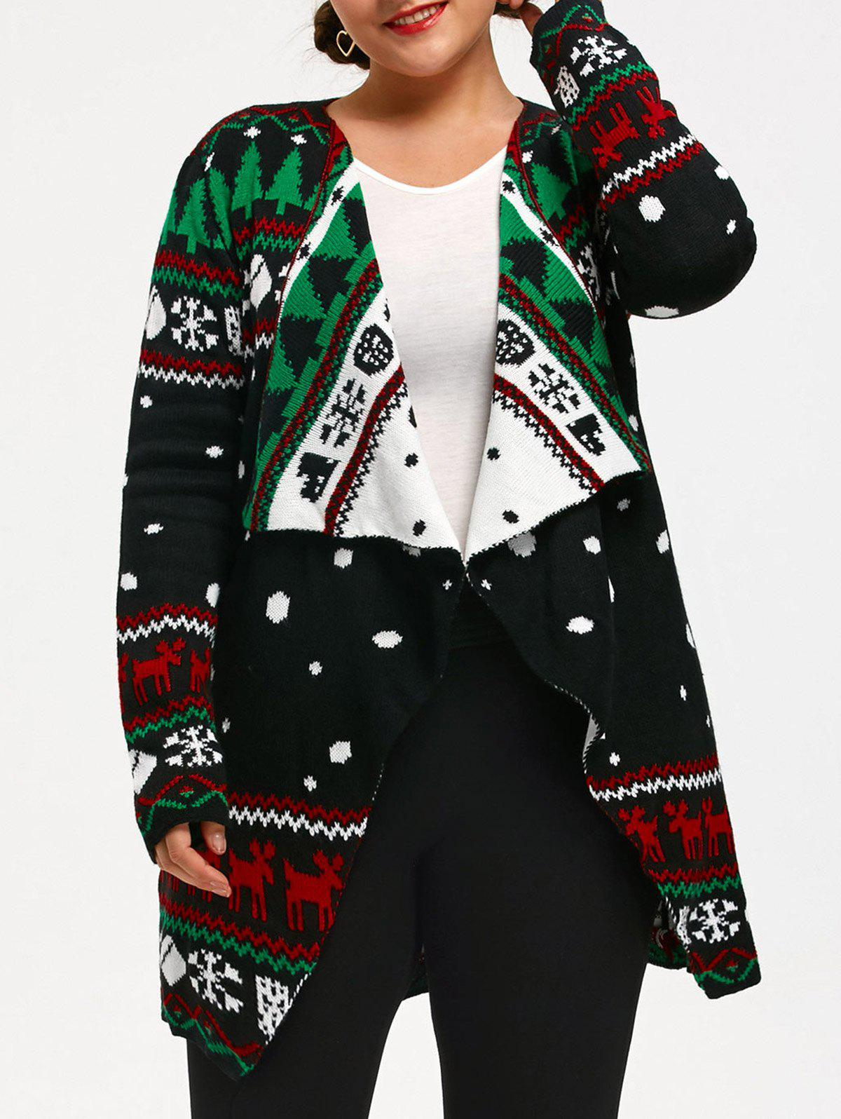 Christmas Pattern Plus Size Tunic Knitted CardiganWOMEN<br><br>Size: XL; Color: COLORMIX; Type: Cardigans; Material: Acrylic,Polyester; Sleeve Length: Full; Collar: Collarless; Style: Fashion; Season: Fall,Spring,Winter; Pattern Type: Others; Weight: 0.6700kg; Package Contents: 1 x Cardigan;