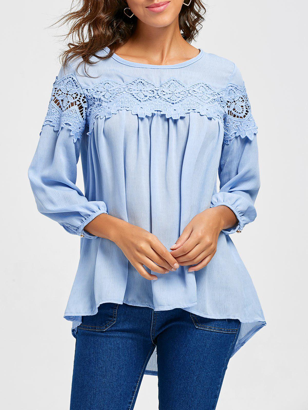 Lace Insert Scoop Neck High Low BlouseWOMEN<br><br>Size: L; Color: LIGHT BLUE; Style: Fashion; Material: Polyester; Shirt Length: Regular; Sleeve Length: Three Quarter; Collar: Scoop Neck; Pattern Type: Solid; Embellishment: Lace; Season: Fall,Spring; Weight: 0.3300kg; Package Contents: 1 x Blouse;