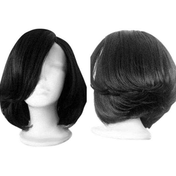 Side Parting Straight Short Feathered Bob Synthetic WigHAIR<br><br>Color: BLACK; Type: Full Wigs; Cap Construction: Capless; Style: Bob; Material: Synthetic Hair; Bang Type: Side; Length: Short; Length Size(CM): 32; Weight: 0.1600kg; Package Contents: 1 x Wig;