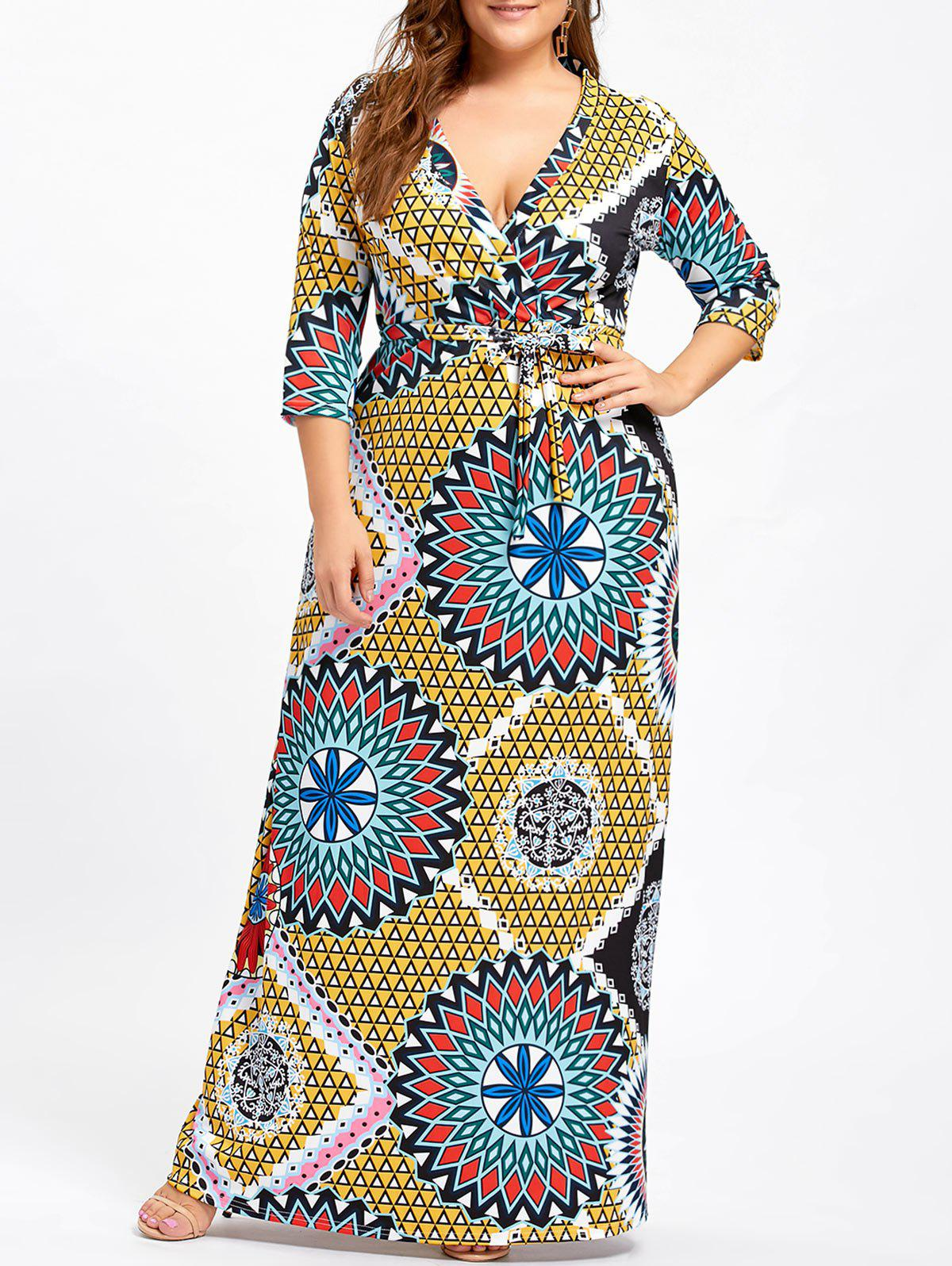Plus Size Belted Surplice Floral DressWOMEN<br><br>Size: 5XL; Color: YELLOW; Style: Casual; Material: Cotton,Polyester; Silhouette: Sheath; Dresses Length: Floor-Length; Neckline: Plunging Neck; Sleeve Length: 3/4 Length Sleeves; Pattern Type: Floral; With Belt: Yes; Season: Fall,Spring; Weight: 0.5000kg; Package Contents: 1 x Dress  1 x Belt;