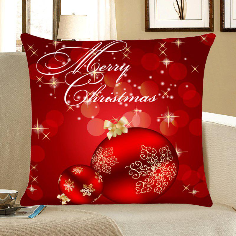 Home Decorative Christmas Balls Printed Throw Pillow CaseHOME<br><br>Size: W18 INCH * L18 INCH; Color: DEEP RED; Material: Linen; Fabric Type: Linen; Pattern: Printed; Style: Festival; Shape: Square; Weight: 0.0800kg; Package Contents: 1 x Pillow Case;