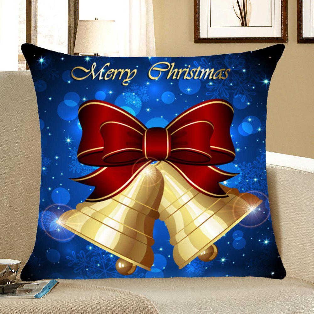 Christmas Bells Print Home Decor Throw Pillow CaseHOME<br><br>Size: W18 INCH * L18 INCH; Color: BLUE; Material: Linen; Fabric Type: Linen; Pattern: Printed,Snowflake; Style: Festival; Shape: Square; Weight: 0.0800kg; Package Contents: 1 x Pillow Case;
