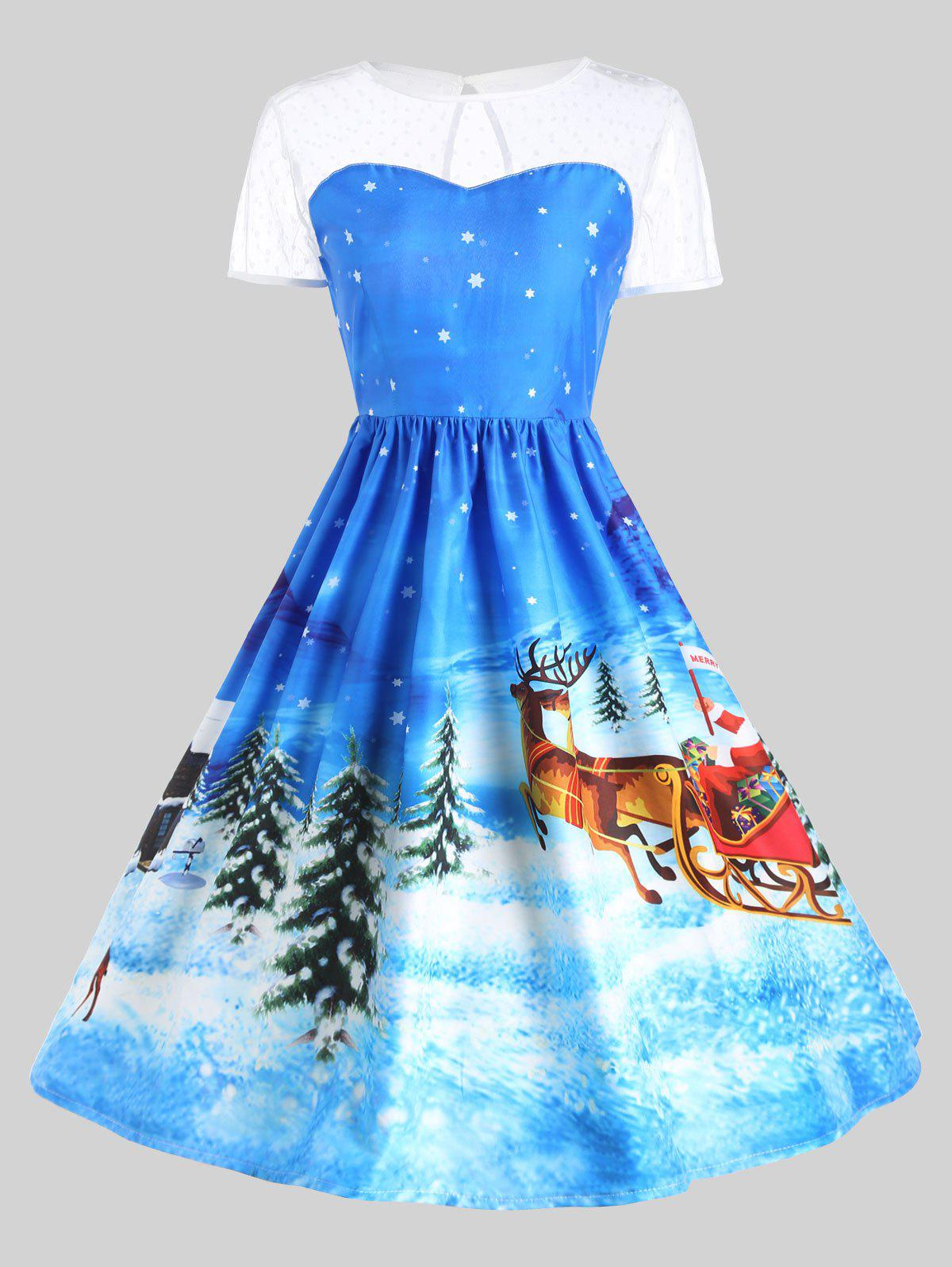 Father Christmas Sleigh Party Gown DressWOMEN<br><br>Size: L; Color: BLUE; Style: Cute; Material: Polyester; Silhouette: Ball Gown; Dresses Length: Mid-Calf; Neckline: Round Collar; Sleeve Length: Short Sleeves; Pattern Type: Plant,Print; With Belt: No; Season: Fall,Winter; Weight: 0.2400kg; Package Contents: 1 x Dress;
