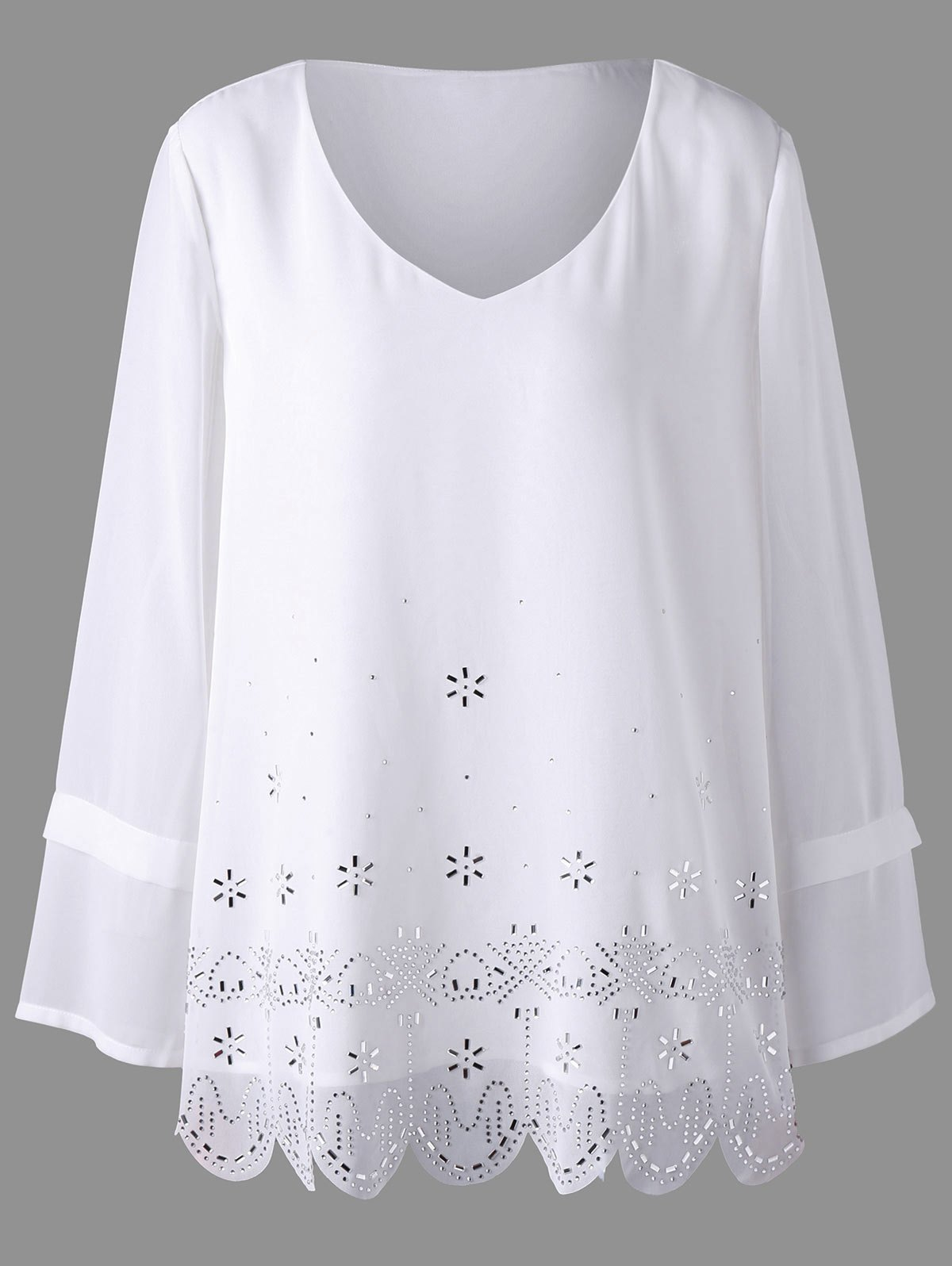 Plus Size Embellished V Neck Scalloped BlouseWOMEN<br><br>Size: 3XL; Color: WHITE; Material: Polyester; Shirt Length: Long; Sleeve Length: Full; Collar: V-Neck; Style: Casual; Season: Fall,Spring; Embellishment: Rhinestone; Pattern Type: Solid; Weight: 0.2700kg; Package Contents: 1 x Top;