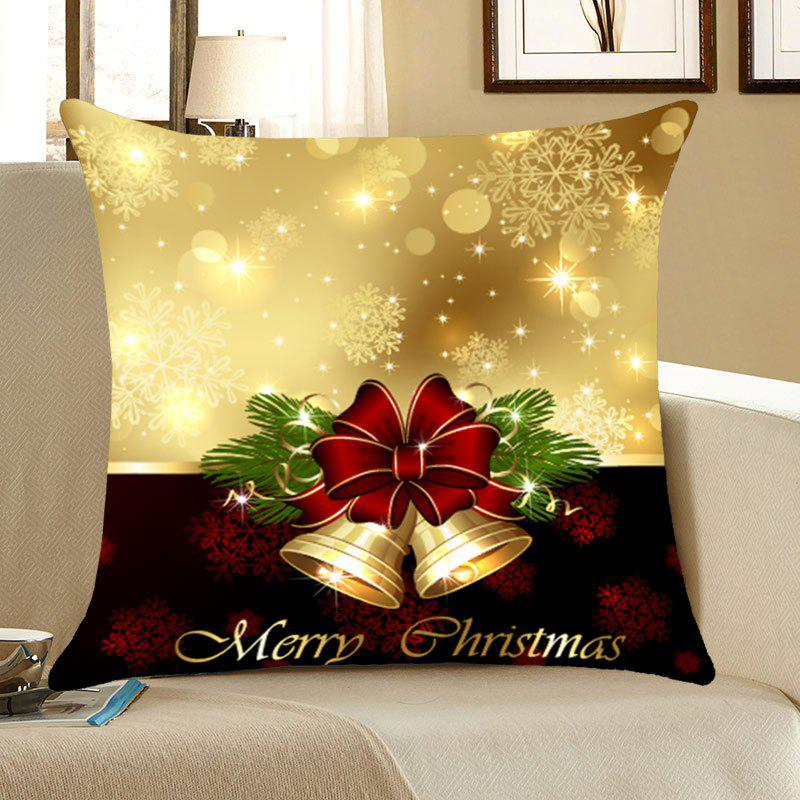 Jingle Bell Pattern Square Pillow CaseHOME<br><br>Size: W18 INCH * L18 INCH; Color: COLORFUL; Material: Linen; Pattern: Printed; Style: Festival; Shape: Square; Weight: 0.0800kg; Package Contents: 1 x Pillow Case;