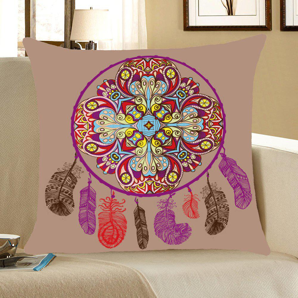 Bohemia Aeolian Bell Pattern Square Pillow CaseHOME<br><br>Size: W18 INCH * L18 INCH; Color: COLORFUL; Material: Linen; Pattern: Printed; Style: Ethnic; Shape: Square; Weight: 0.0800kg; Package Contents: 1 x Pillow Case;