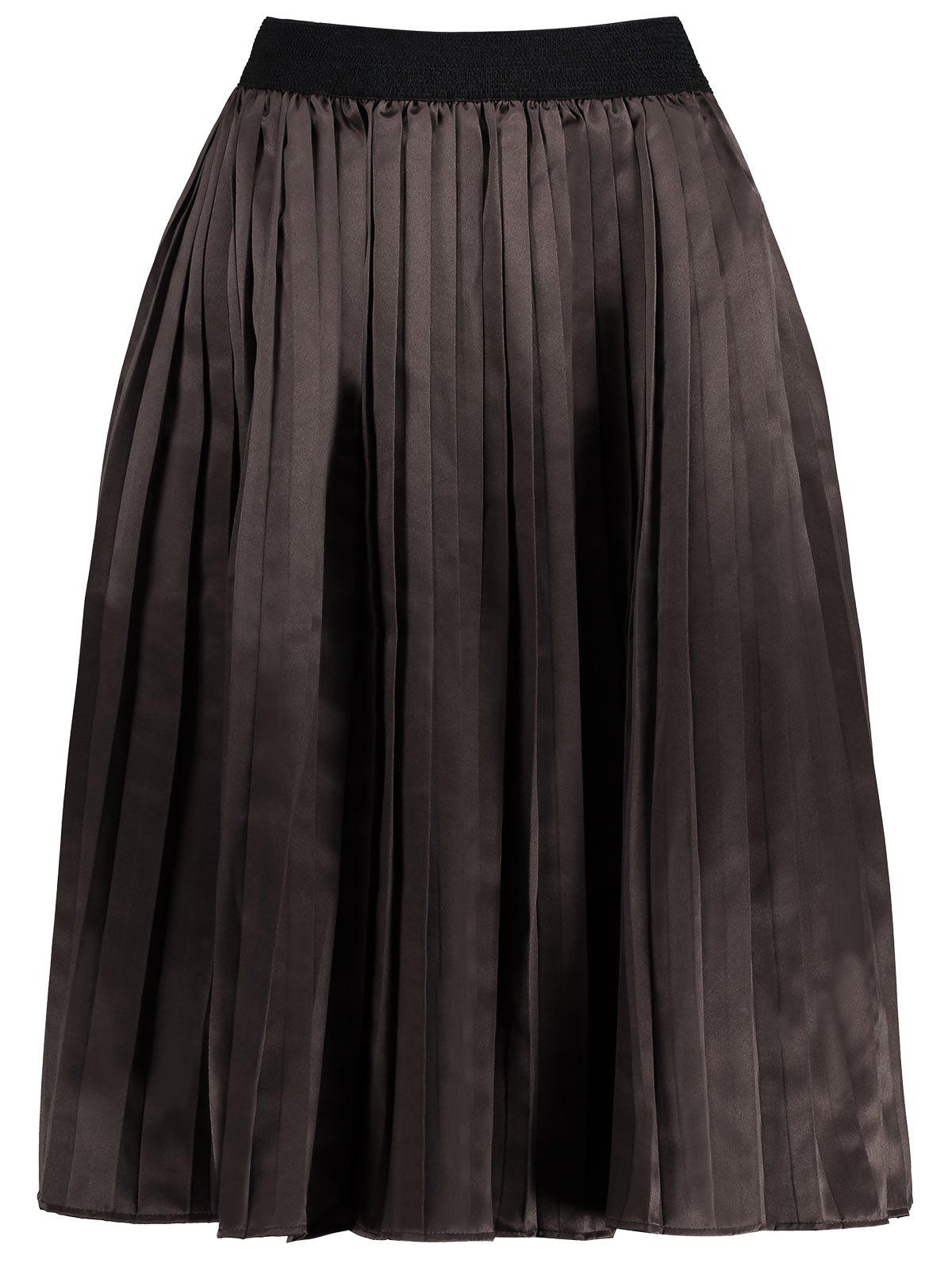 Outfit Plus Size Midi Pleated Elastic Waist Skirt
