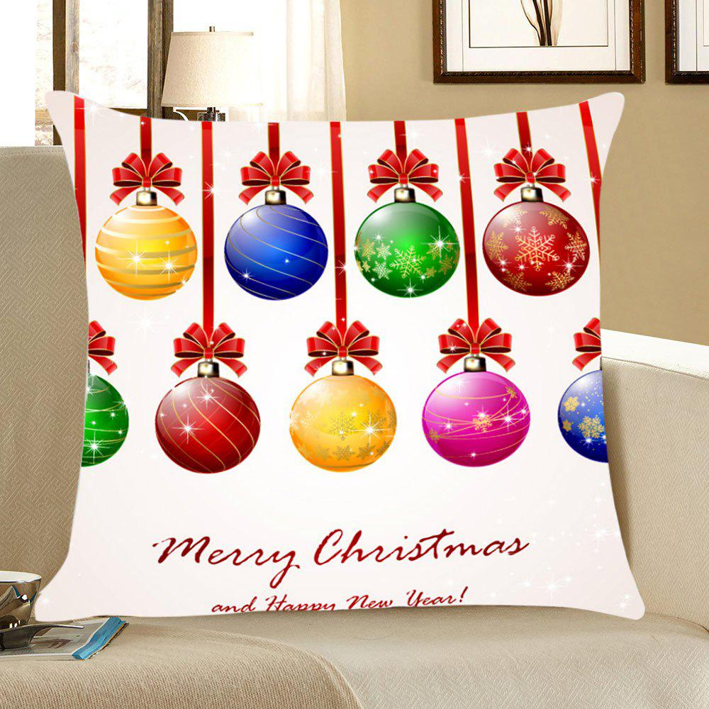 Christmas Colorful Balls Patterned Throw Pillow CaseHOME<br><br>Size: W18 INCH * L18 INCH; Color: COLORFUL; Material: Linen; Fabric Type: Linen; Pattern: Letter,Printed; Style: Festival; Shape: Square; Weight: 0.0800kg; Package Contents: 1 x Pillow Case;
