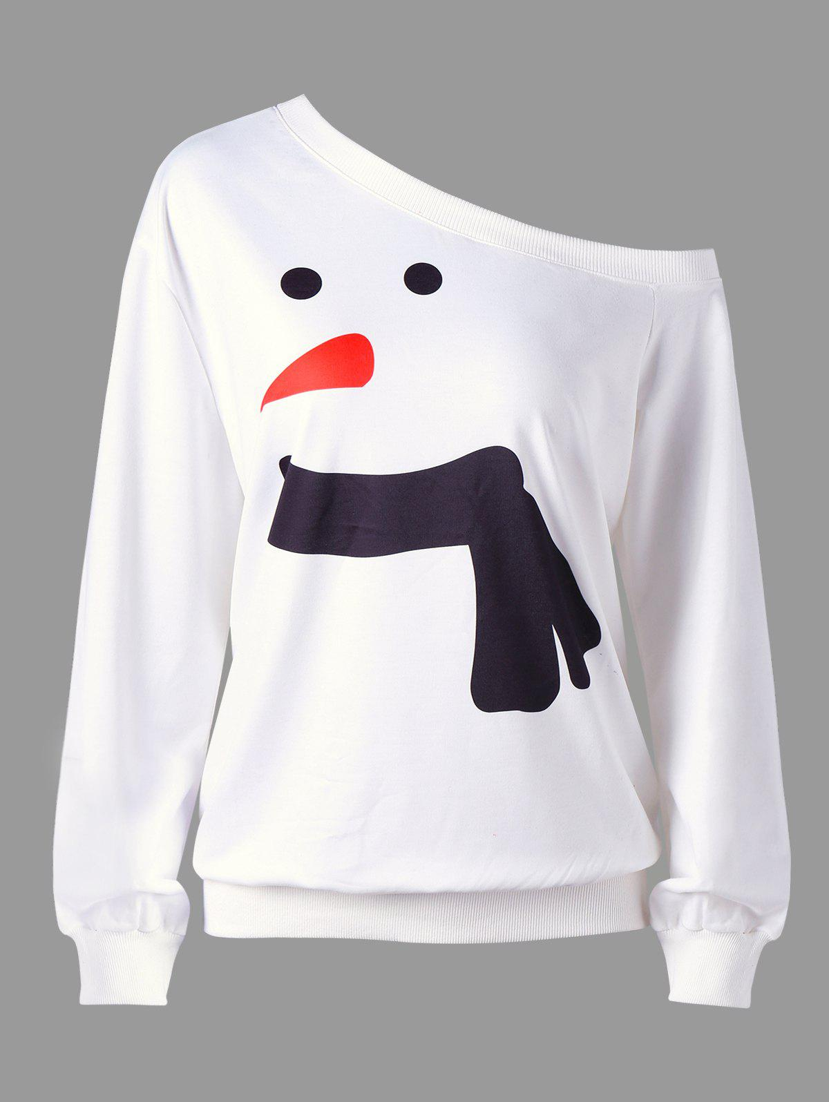Plus Size Snowman Skew Collar Christmas SweatshirtWOMEN<br><br>Size: 5XL; Color: WHITE; Material: Polyester,Spandex; Shirt Length: Long; Sleeve Length: Full; Style: Casual; Pattern Style: Others; Season: Fall,Spring; Weight: 0.4000kg; Package Contents: 1 x Sweatshirt;