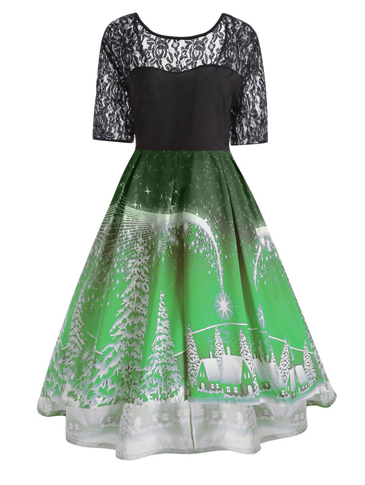 Plus Size  Lace Panel Vintage Christmas Party DressWOMEN<br><br>Size: XL; Color: GREEN; Style: Cute; Material: Polyester; Silhouette: Ball Gown; Dresses Length: Knee-Length; Neckline: Round Collar; Sleeve Length: Short Sleeves; Embellishment: Hollow Out,Lace,Vintage; Pattern Type: Print; With Belt: No; Season: Fall,Winter; Weight: 0.3200kg; Package Contents: 1 x Dress;