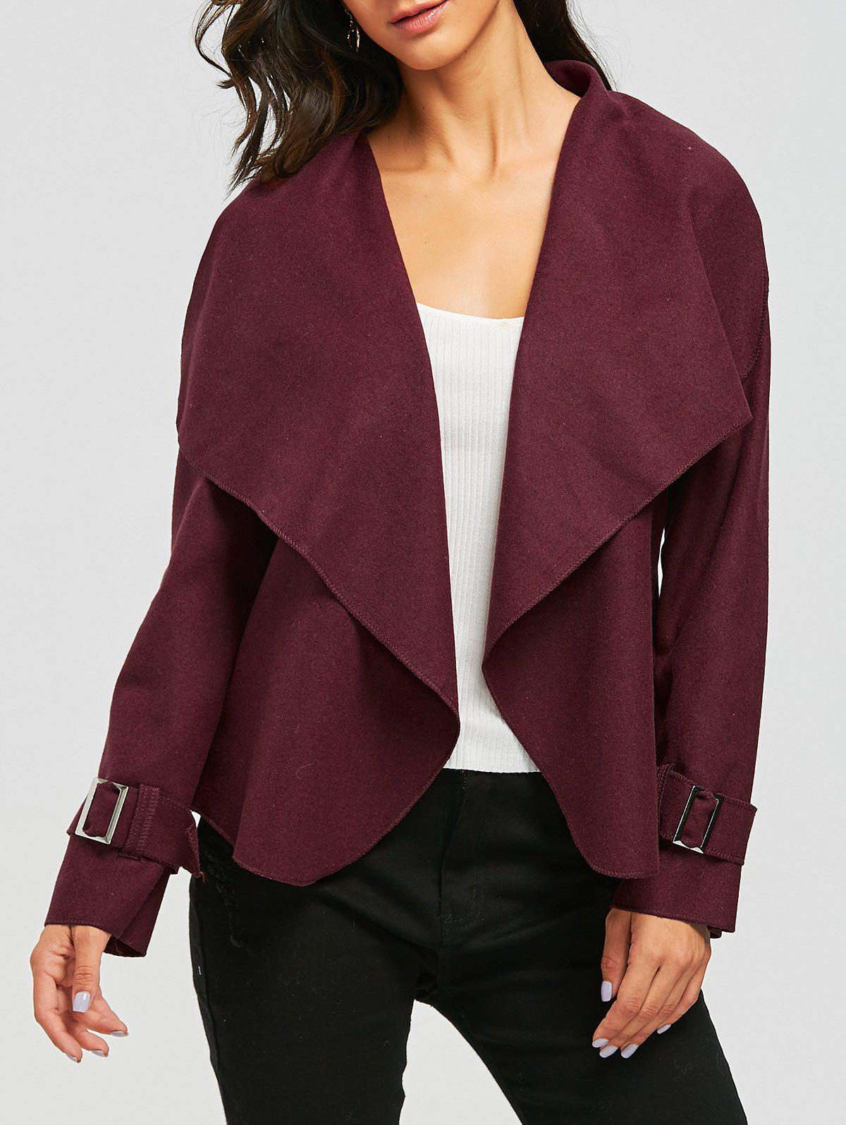Cheap Draped Open Front Wool Blend Jacket