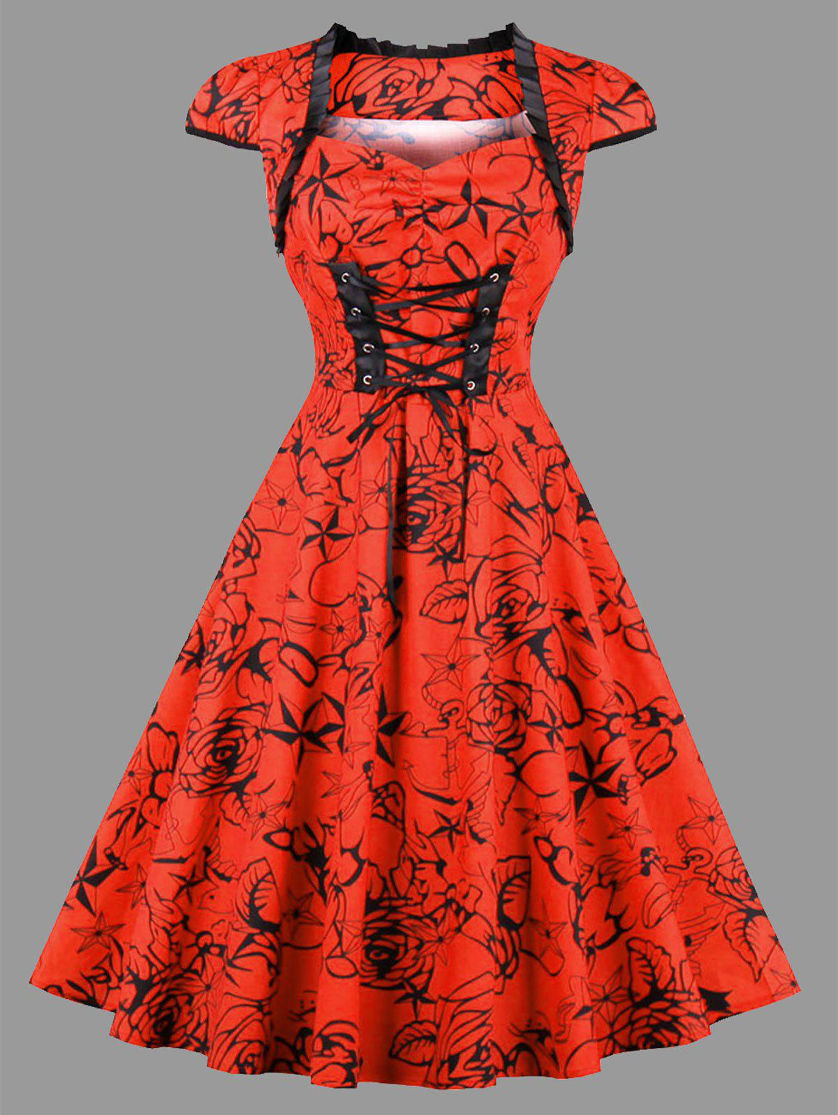 Plus Size Floral Star Print Lace Up DressWOMEN<br><br>Size: 4XL; Color: RED; Style: Vintage; Material: Cotton,Polyester; Silhouette: A-Line; Dresses Length: Knee-Length; Neckline: Sweetheart Neck; Sleeve Type: Cap Sleeve; Sleeve Length: Short Sleeves; Embellishment: Criss-Cross,Ruffles; Pattern Type: Floral,Star; With Belt: No; Season: Fall,Spring,Summer; Weight: 0.4100kg; Package Contents: 1 x Dress;