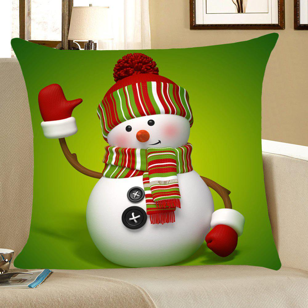 Christmas Snowman Home Decor Throw Pillow CaseHOME<br><br>Size: W18 INCH * L18 INCH; Color: GREEN; Material: Linen; Fabric Type: Linen; Pattern: Snowman; Style: Festival; Shape: Square; Weight: 0.0800kg; Package Contents: 1 x Pillow Case;