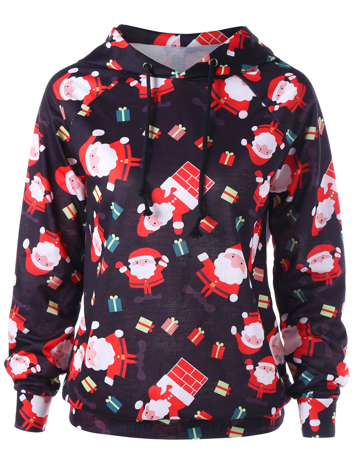 Santa Claus Raglan Sleeve Christmas HoodieWOMEN<br><br>Size: L; Color: RED; Material: Polyester,Spandex; Shirt Length: Regular; Sleeve Length: Full; Style: Fashion; Pattern Style: Print; Season: Fall,Spring; Weight: 0.4500kg; Package Contents: 1 x Hoodie;