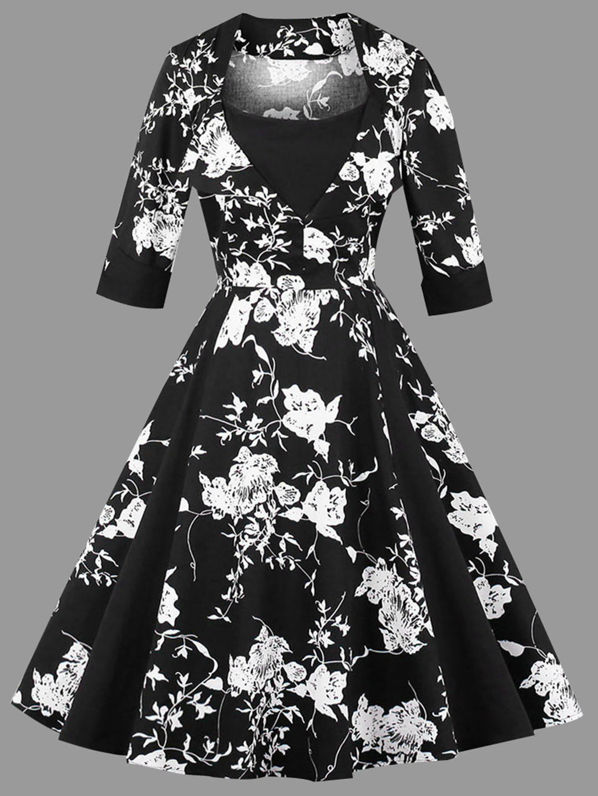 Plus Size Floral Print Vintage DressWOMEN<br><br>Size: 3XL; Color: BLACK; Style: Vintage; Material: Cotton,Polyester; Silhouette: A-Line; Dresses Length: Knee-Length; Neckline: Square Collar; Sleeve Length: 3/4 Length Sleeves; Pattern Type: Floral; With Belt: No; Season: Fall,Spring; Weight: 0.4400kg; Package Contents: 1 x Dress;
