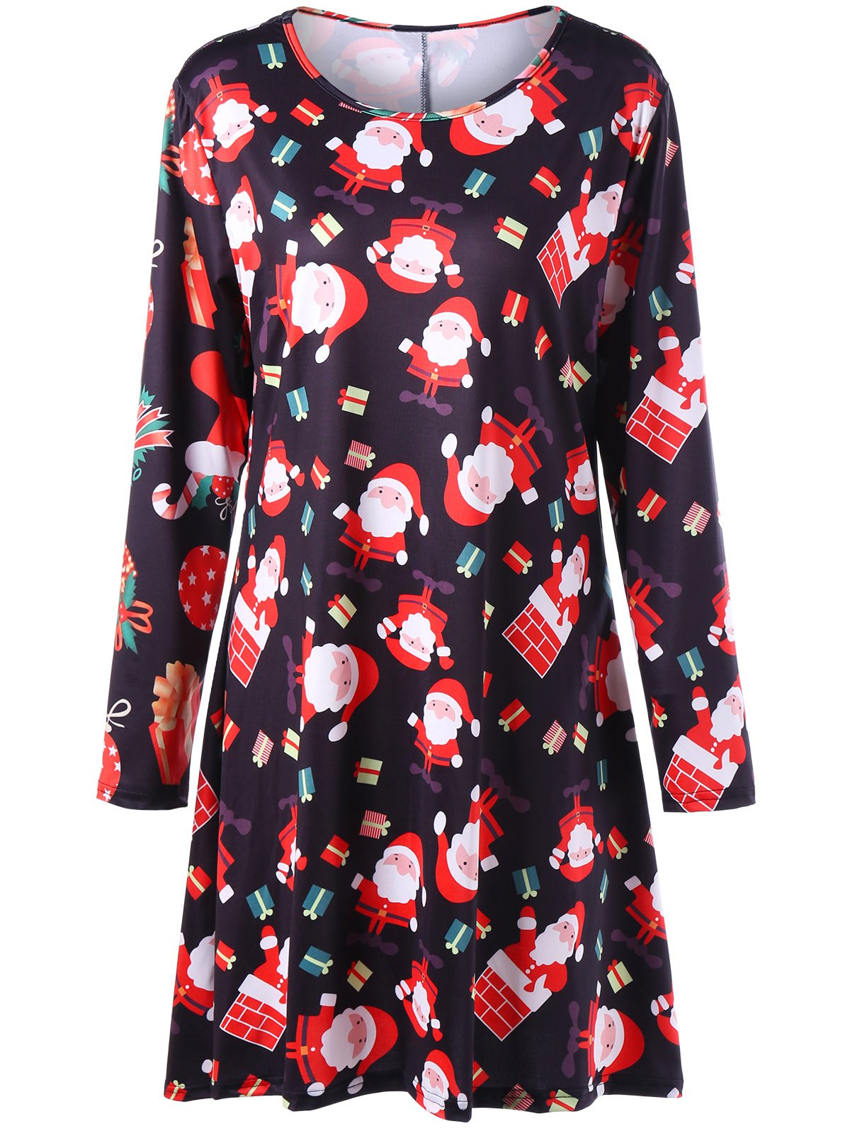 Christmas Santa Claus Print Plus Size Mini Swing DressWOMEN<br><br>Size: 3XL; Color: BLACK; Style: Brief; Material: Polyester,Spandex; Silhouette: A-Line; Dresses Length: Mini; Neckline: Round Collar; Sleeve Length: Long Sleeves; Pattern Type: Print; With Belt: No; Season: Fall,Spring; Weight: 0.4000kg; Package Contents: 1 x Dress;