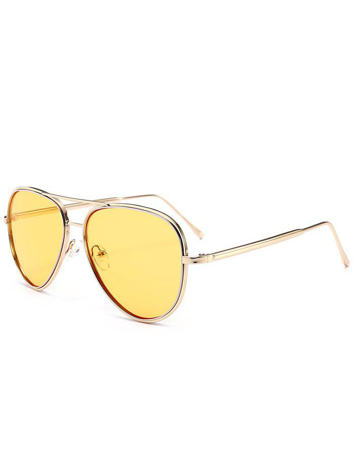 Vintage Golden Metal Frame Crossbar SunglassesACCESSORIES<br><br>Color: LIGHT YELLOW; Group: Adult; Gender: For Unisex; Style: Fashion; Lens material: Resin; Frame material: Alloy; Frame Color: Gold; Lens height: 5.4CM; Lens width: 5.9CM; Temple Length: 14.1CM; Nose: 1.7CM; Frame Length: 15.4CM; Weight: 0.1000kg; Package Contents: 1 x Sunglasses;